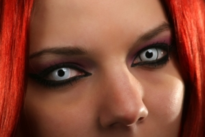 Woman wearing Halloween contact lenses