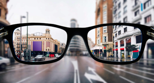 View with short sighted glasses