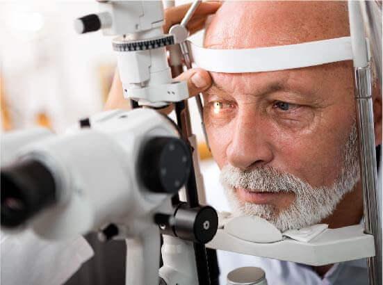 older man having his eyes tested