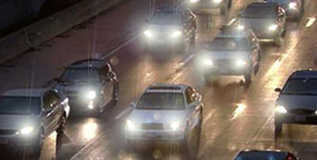 glare from car headlights at night