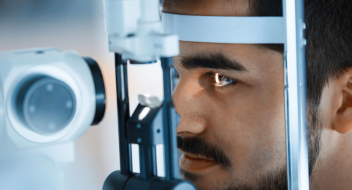 Man being done an eye check