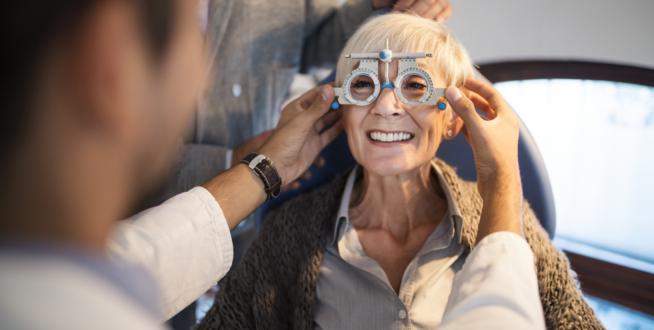 Senior woman having her eyesight checked
