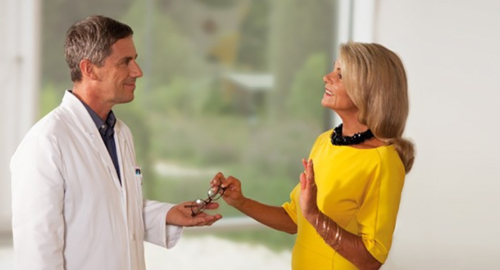 woman being consulted by her eye surgeon